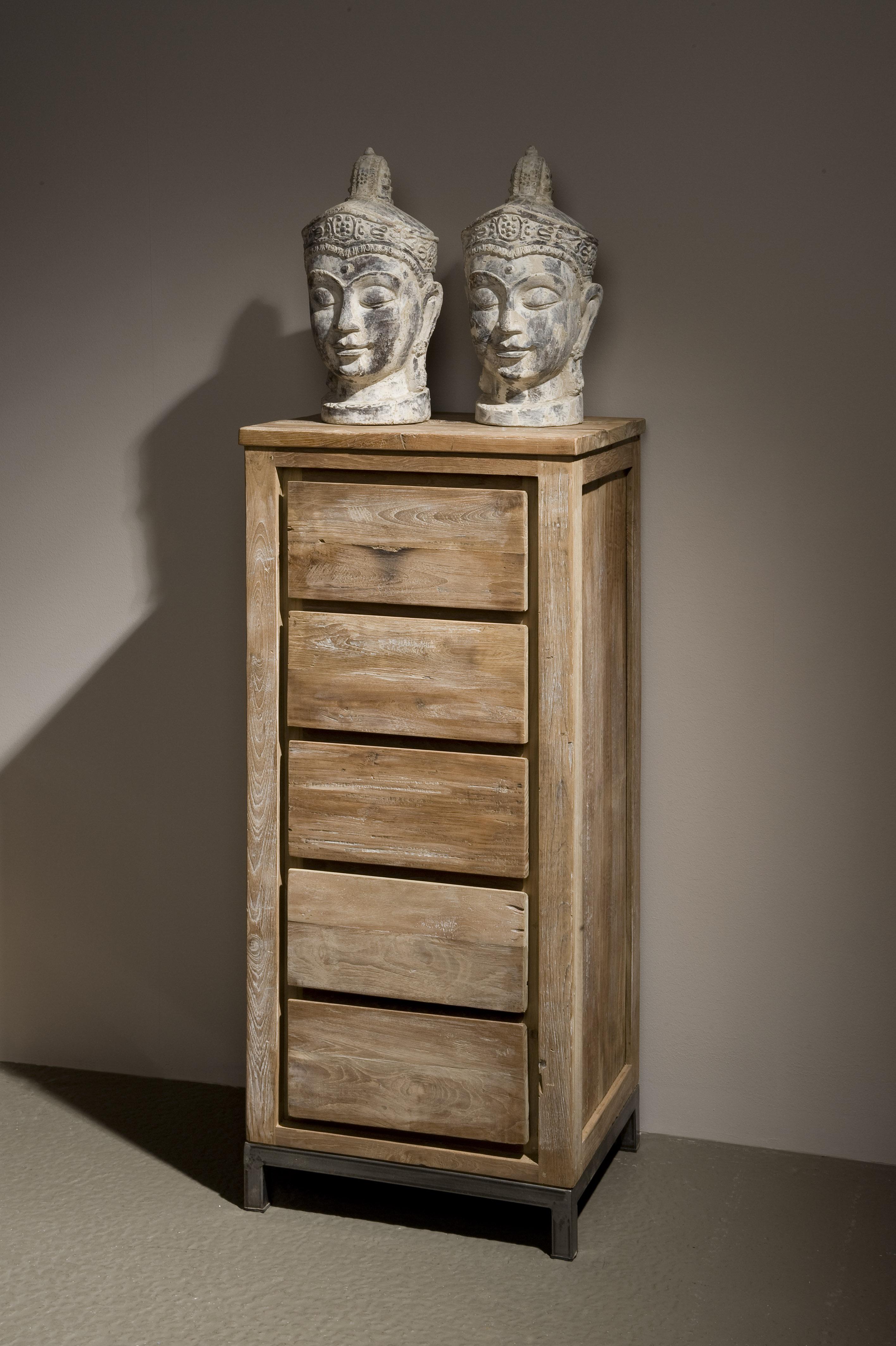Chester boekenkast oud teak staal 50cm markus john - Eigentijdse boekenkast ...