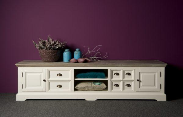 Fleur Tv meubel Landelijk Wit 220cm