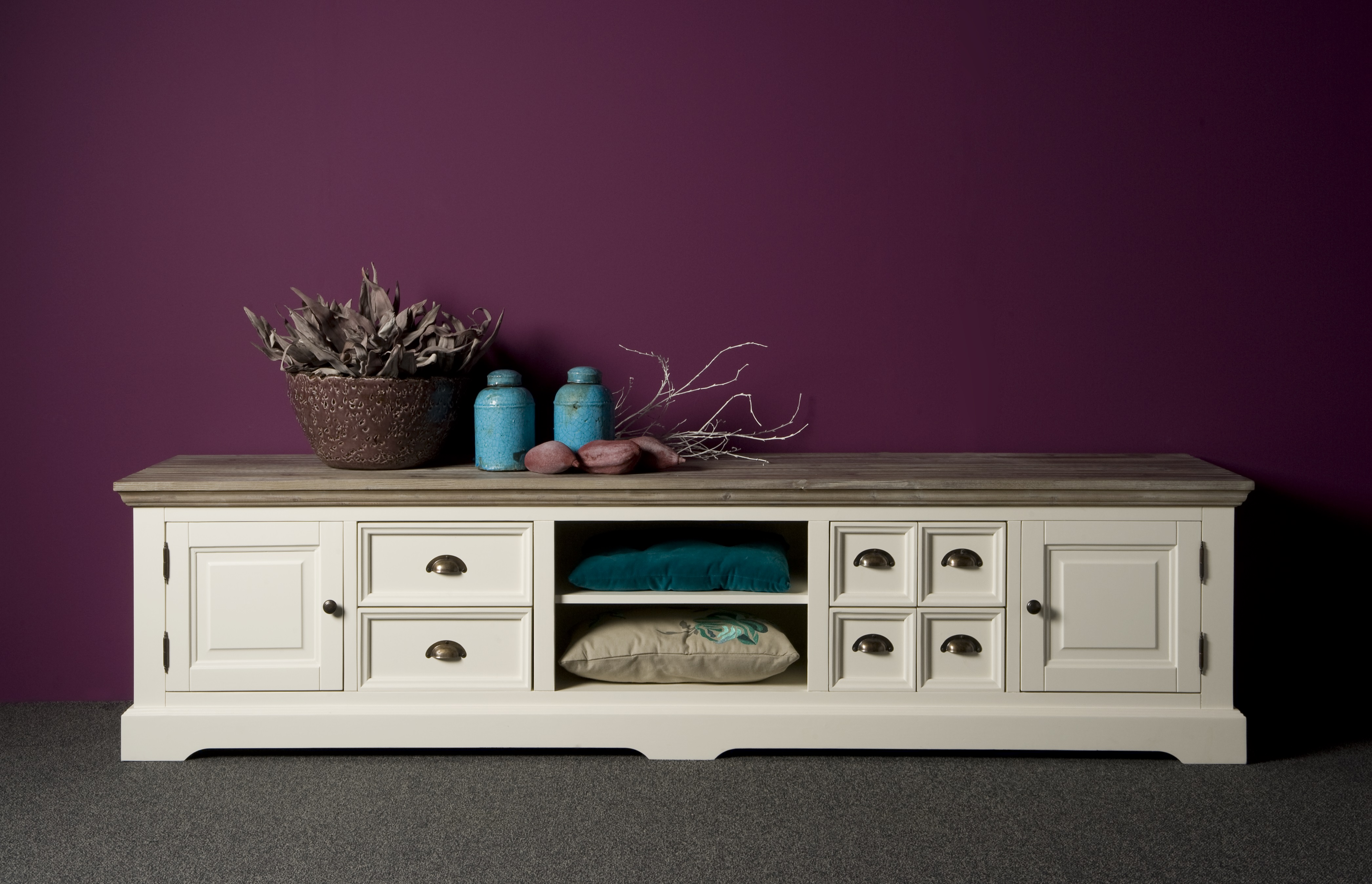 Witte Tv Kast : Landelijk tv meubel wit met shutters cm ans woonshop