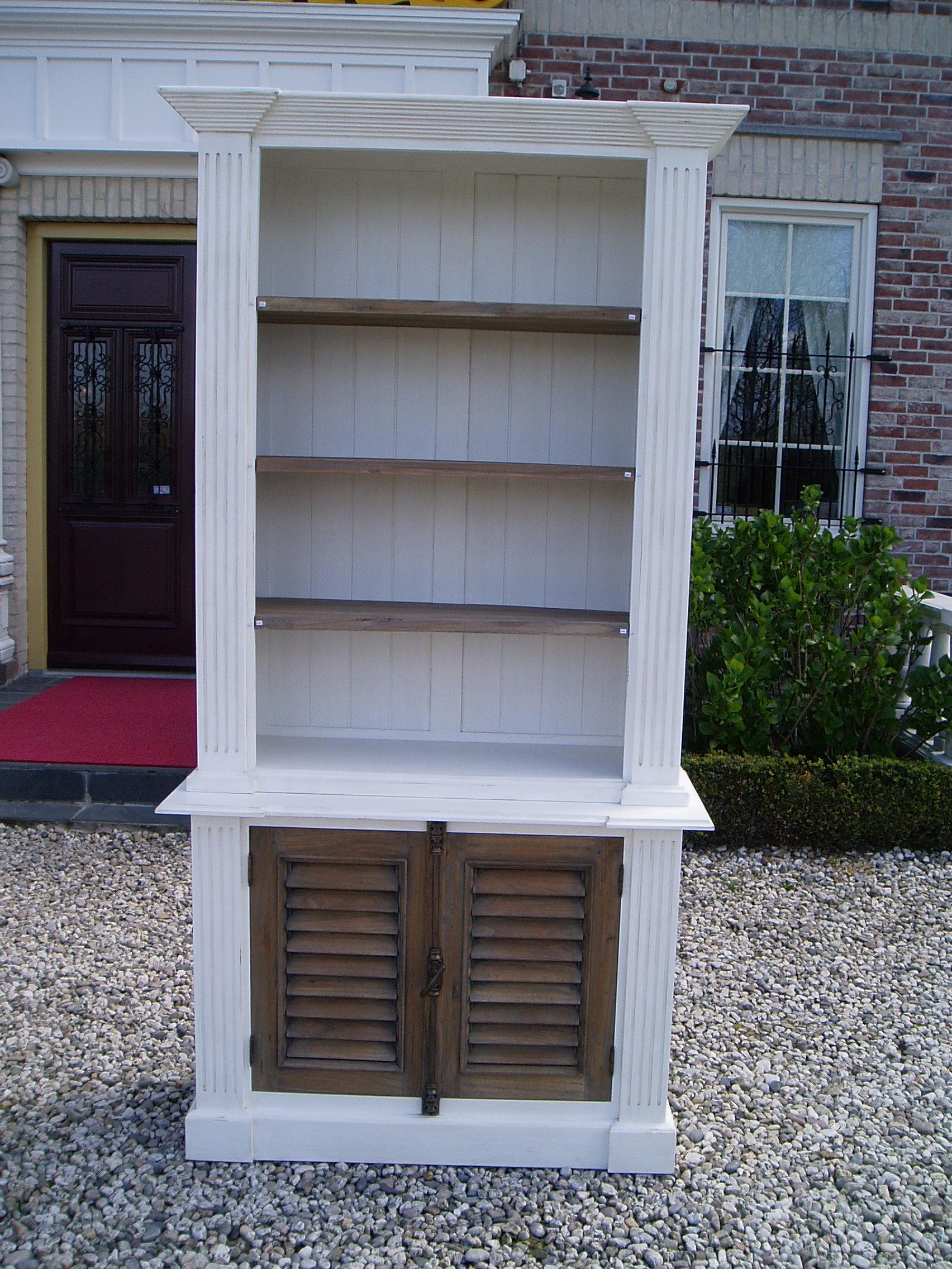 Hoge Boekenkast Wit.Markus John Madrid Boekenkast Wit Shutters 120cm