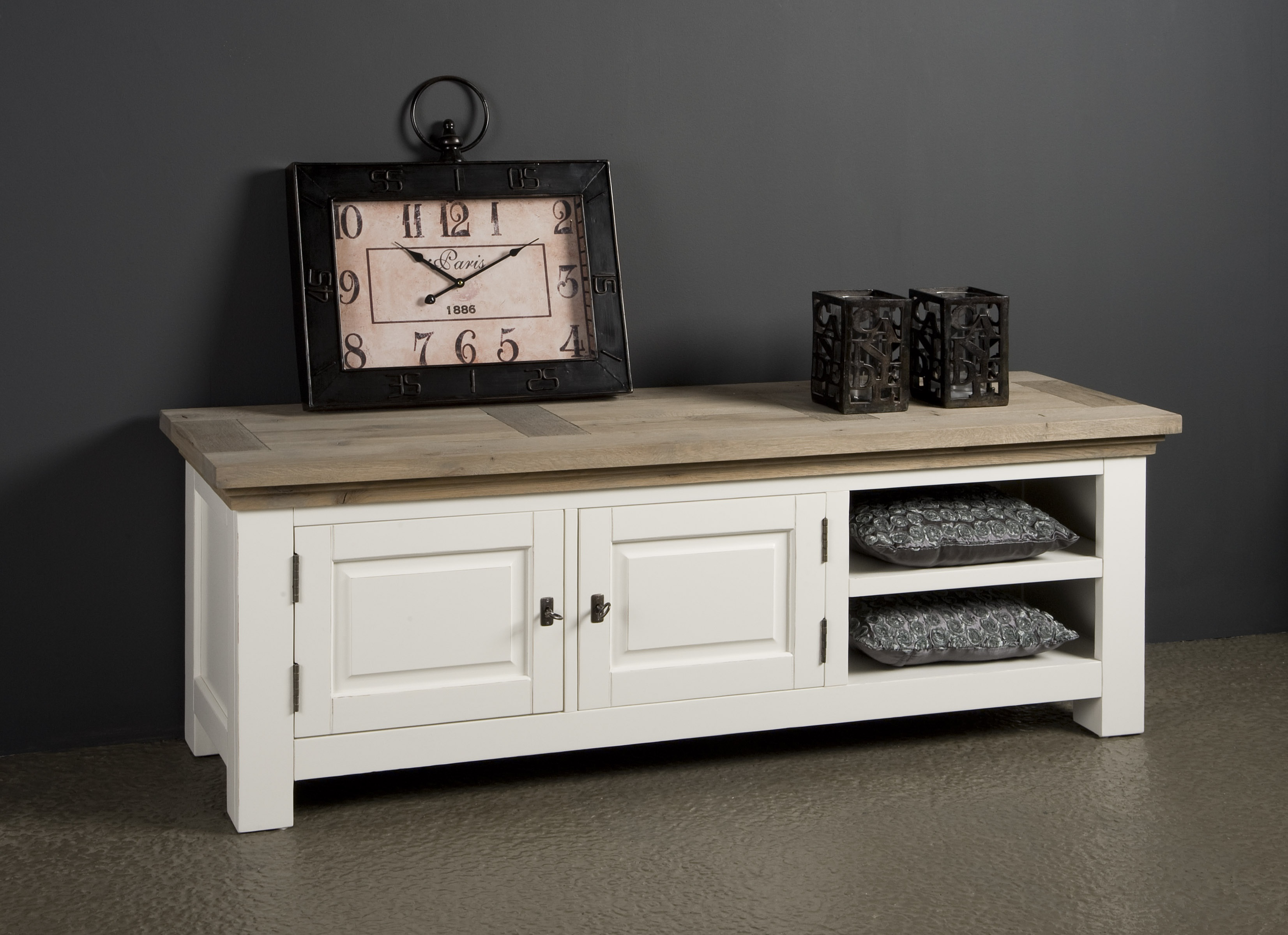 Maison white antique tv meubel eiken cm markus john