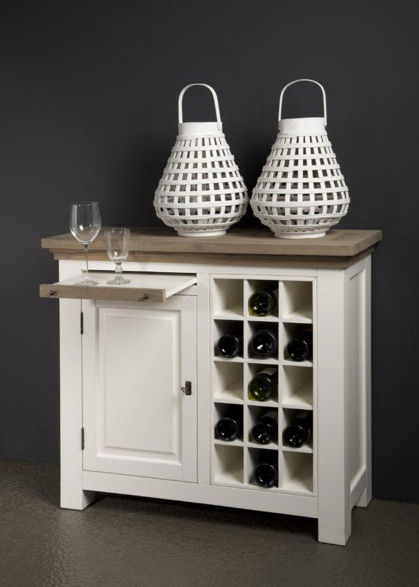 Maison White Antique Wijnkast Eiken 104cm