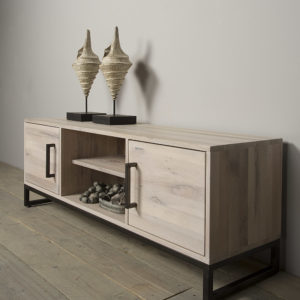 lodge bank eikenhout met staal 160 cm markus john. Black Bedroom Furniture Sets. Home Design Ideas