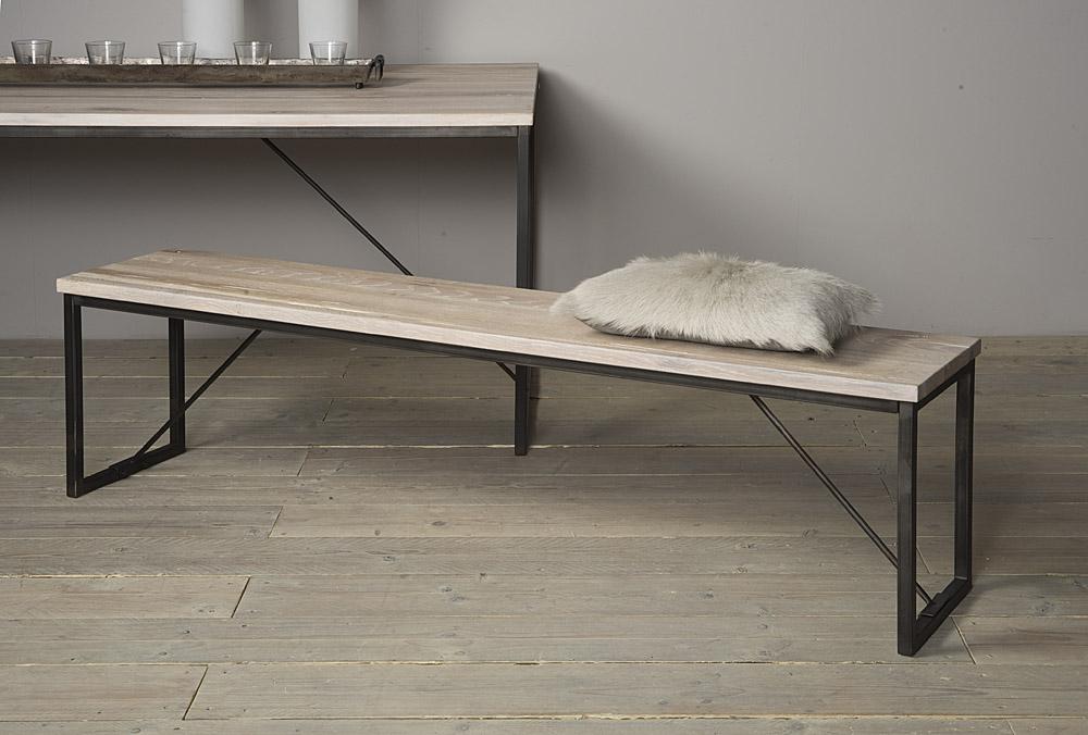 lodge bank eikenhout met staal 160 cm markus john. Black Bedroom Furniture Sets. Home Design Ideas