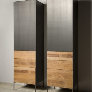 Aberdeen Cabinet Staal Teakhout deur links 55cm