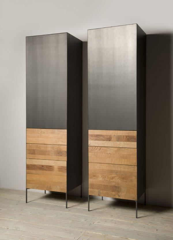 Aberdeen Cabinet Staal Teakhout deur rechts 55cm