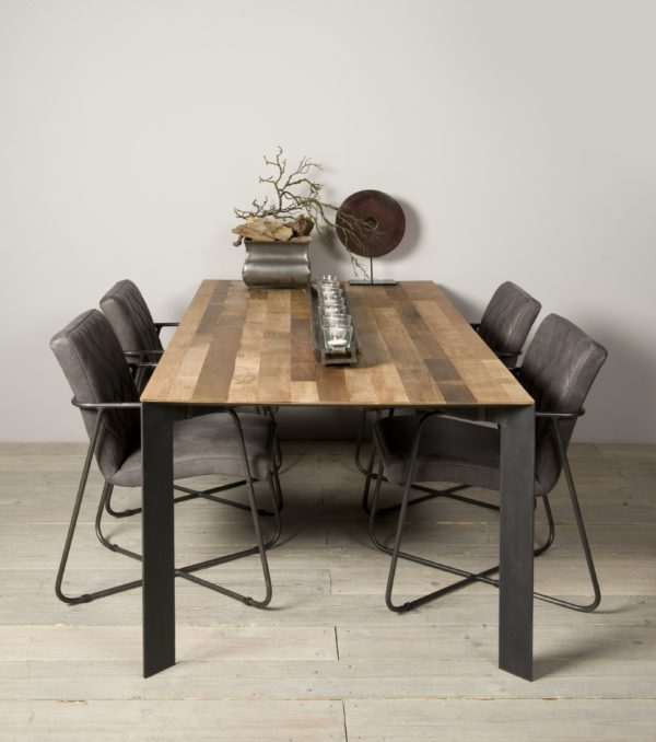Aberdeen Dining Table Staal Teakhout 240 cm