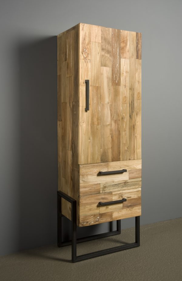 Byron Cabinet Industrieel Teak Links 66 cm