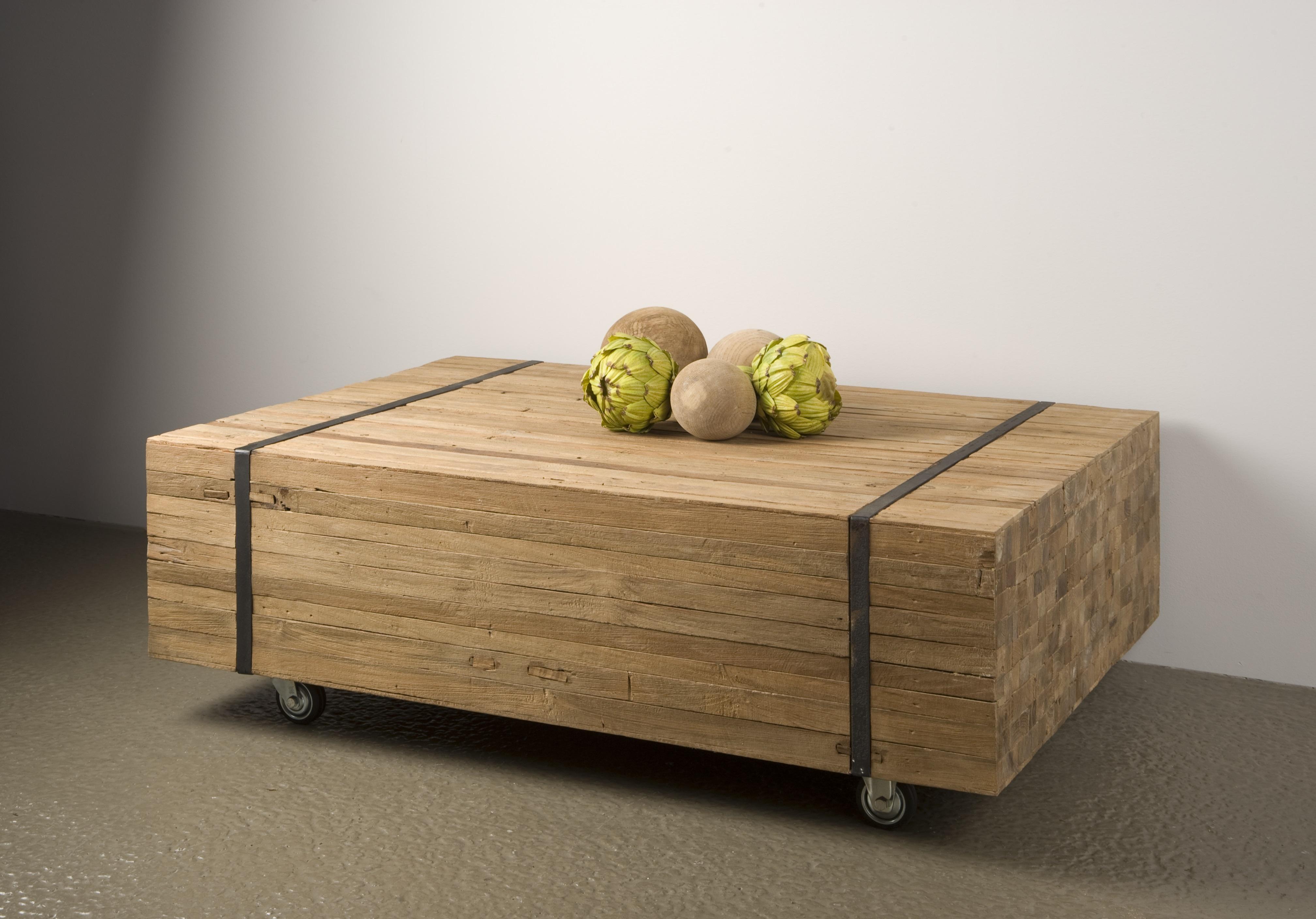 Salontafel Hout Robuust.Wood Robuuste Salontafel Blokhout 120 Cm