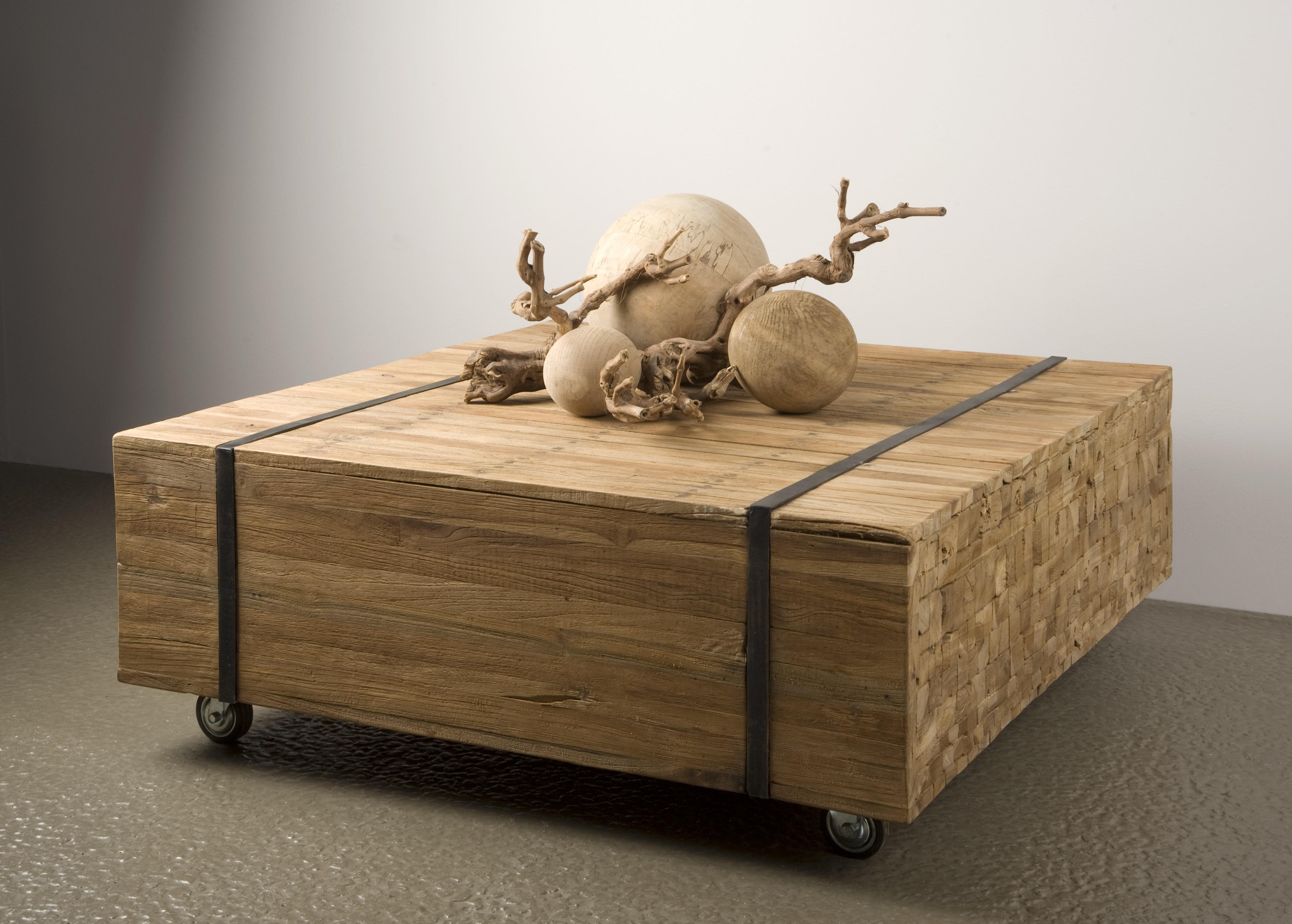 Wood robuuste salontafel blokhout vierkant 100 cm markus for Salontafel vierkant