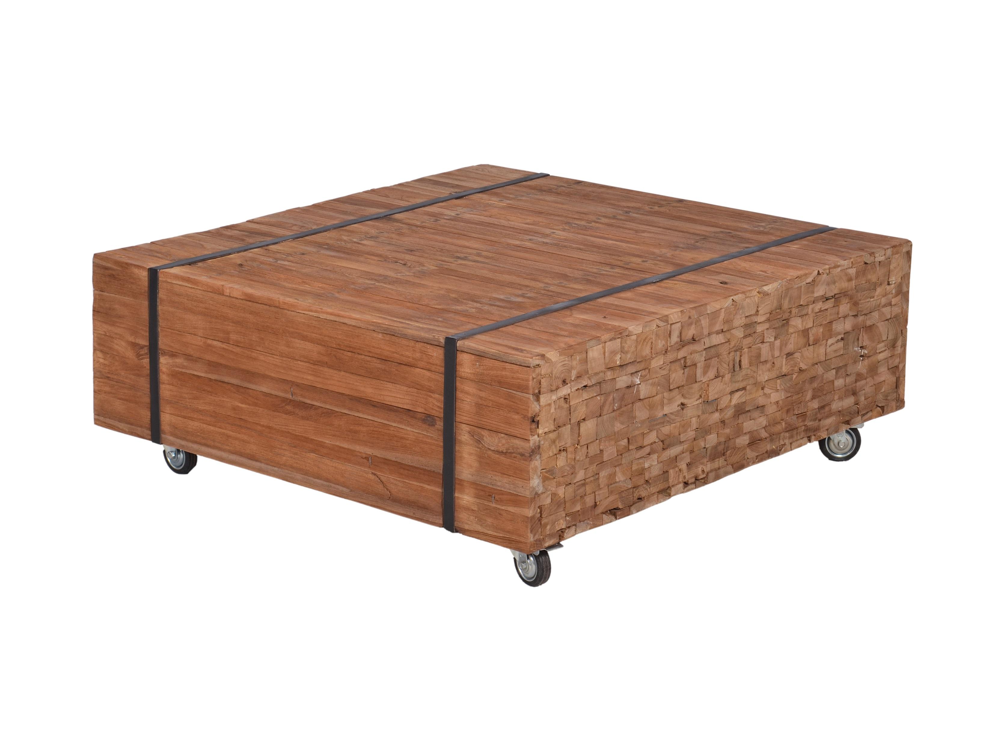 Salontafels Hout Vierkant.Markus John Wood Robuuste Salontafel Blokhout Vierkant 100 Cm