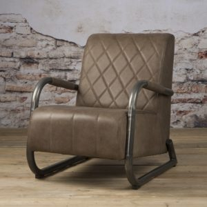 Ranche Coffee-chair echt Leer Staal Taupe