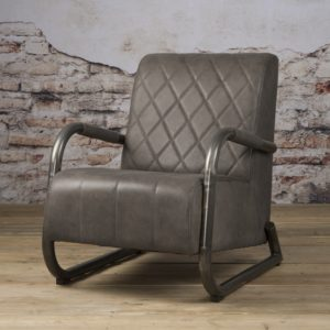Ranche Coffee-chair echt Leer Staal Stone