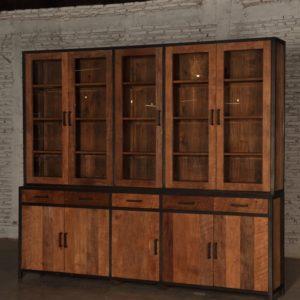 Bruut Cabinet XL Zwart Staal Teakhout 260cm