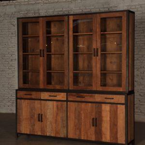 Bruut Cabinet Zwart Staal Teakhout 220cm