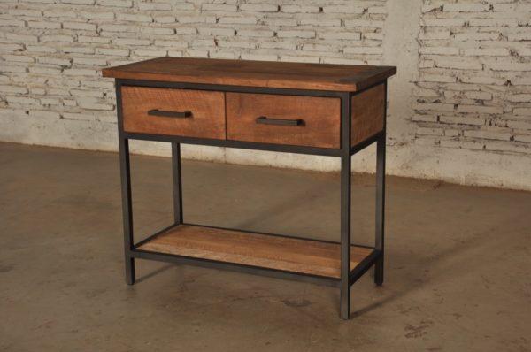 Bruut Side Table Zwart Staal Teakhout 140cm