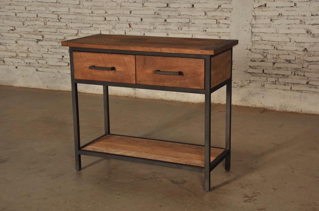 Sidetable Van Teak Hout.Bruut Side Table Zwart Staal Teakhout 140cm