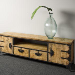 Praag Tv meubel Metaal mango hout Bruin 2 deurs 2 lades 180cm