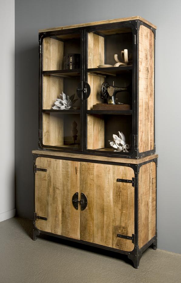 Praag Cabinetkast Metaal Mango Hout Bruin 4 Deurs 120cm