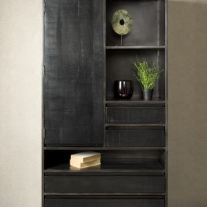 Cabinet Pebbel Zwart Mango Industrieel 100cm