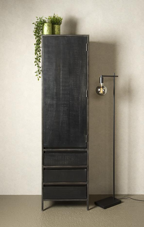 Cabinet Pebbel Zwart Mango Industrieel 50cm