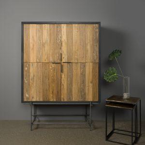 Lido Cabinet industrieel Buizen Oud Teakhout 120cm
