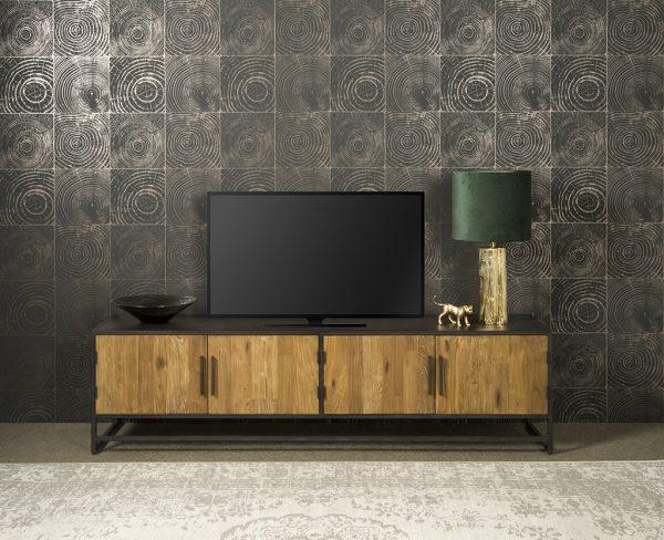 Fraija Tv Meubel Recycled Teakhout Met Stalen Frame 200cm