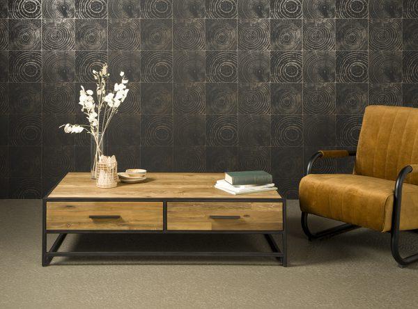 Fraija Coffee Table Recycled Teakhout Met Stalen Frame 135cm