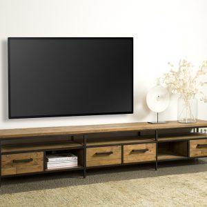 Tv meubel Lagonda Recyceld Teakhout Met Staal 240cm