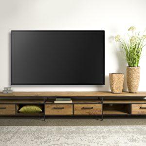 Tv meubel Lagonda Recyceld Teakhout Met Staal 300cm